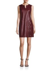 Laundry By Shelli Segal Faux Leather Lace Up Shift Dress Deep Garnet
