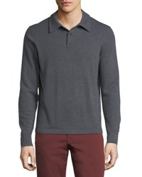 Neiman Marcus Cashmere Long Sleeve Polo Sweater Charcoal