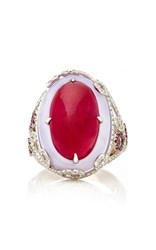 Martin Katz Oval Ruby Cabochon And Lavender Jade Ring Red