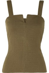 The Range Alloy Ribbed Stretch Knit Tank Green