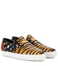 Coach Printed Leather Slip On Sneakers Multicoloured