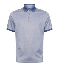 Gieves And Hawkes Cotton Silk Polo Shirt Male Blue