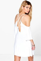 Boohoo Cross Back Swing Dress Cream
