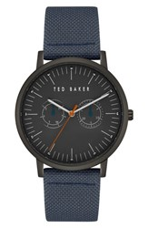 Ted Baker London Brit Leather Strap Watch 40Mm Dark Grey Dark Grey