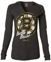 Reebok Women's Long Sleeve Boston Bruins Divided Hooded T Shirt Black