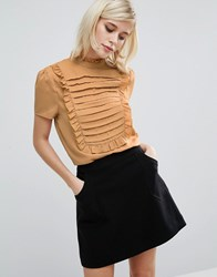 Fashion Union High Neck Top With Frill Bib Detail Mustard Yellow