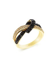 Effy Black And White Diamond 14K Yellow Gold Ring 0.80 Tcw Diamond Gold