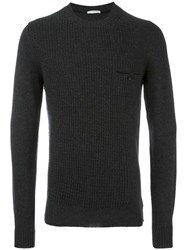 Paolo Pecora Contrast Cable Knit Jumper Grey