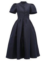 Alexander Mcqueen Puffed Sleeve Silk Faille Dress Navy