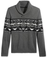 American Rag Men's Snowflake Geo Shawl Collar Sweater Only At Macy's Charcoal Hthr