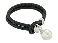 Majorica Storm Braided Leather Bracelet Silver Black White Bracelet