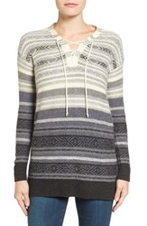Lucky Brand Women's Lace Up Stripe Sweater