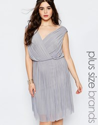 Lovedrobe Plus Bridesmaid Pleated Dress With Wrap Front Soft Grey