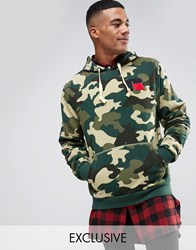 Russell Athletic Camo Hoodie With Chenille Logo Green