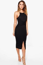 Boohoo Twist Front Midi Pencil Dress Black