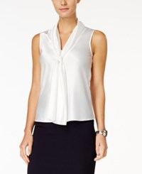 Nine West Top Sleeveless Tie Neck Blouse Ivory