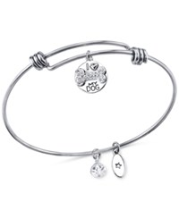 Unwritten Dog Charm And Crystal Adjustable Bracelet In Stainless Steel