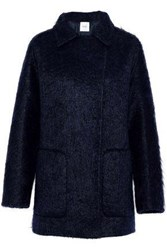 Agnona Double Breasted Mohair Blend Coat Navy