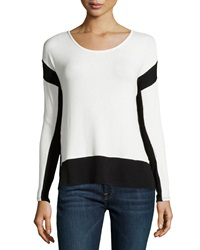 Red Haute Long Sleeve Colorblock Sweater Ivory Black