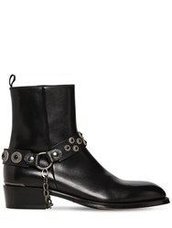 Alexander Mcqueen 40Mm Leather Boots W Embellished Strap Black