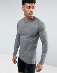 Asos Muscle Fit Longline Jumper With Side Zips In Salt And Pepper Black White Twist Grey