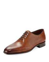 Magnanni One Piece Leather Lace Up Dress Shoe Brown