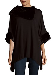 Saks Fifth Avenue Black Faux Fur Trimmed Asymmetrical Top Black