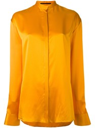 Haider Ackermann Collarless Shirt Women Silk 34 Yellow Orange