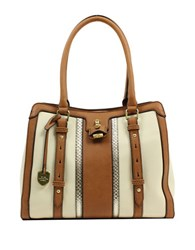 London Fog Lancaster Colorblock Vegan Leather Triple Tote Ivory Stripe