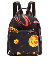 Miu Miu Planet Print Canvas Backpack Black Multi