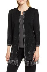 Ming Wang Fringe Knit Jacket Black Granite Stonecliff