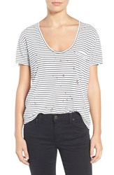 Joe's Jeans Women's Gilles Destroyed Silk Blend Tee Black White
