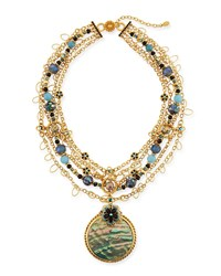 Jose And Maria Barrera Mixed Chain Abalone Pendant Necklace