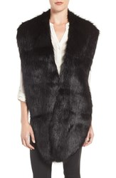 Badgley Mischka Women's Faux Mink Stole Black