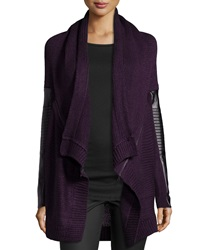 Dex Knit Cardigan W Faux Leather Detail Plum
