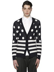 Paul Memoir Polka Dots And Stripes Wool Blend Cardigan