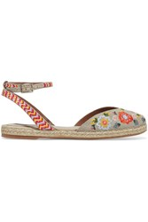 Tabitha Simmons Dotty Festival Embroidered Canvas Espadrilles Taupe