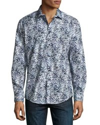1 Like No Other Printed Button Front Sport Shirt Navy