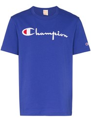Champion Logo Embroidered T Shirt Blue