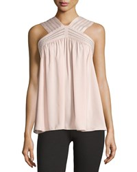 Max Studio Braided Mesh Stripe Tank Pink