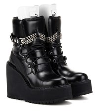 Puma Fenty By Rihanna Embellished Leather Wedge Ankle Boots Black