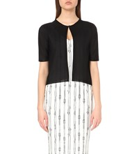 Max Mara Cropped Short Sleeved Knitted Cardigan Black