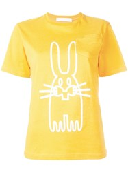 Peter Jensen Rabbit Print T Shirt Yellow Orange