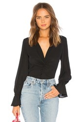 Krisa Ruffle Cuff Twist Long Sleeve Black