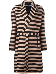 Rochas Striped Coat Nude Neutrals
