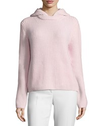 Michael Kors Collection Long Sleeve Cashmere Shaker Hoodie Blush Melange Women's Size Xs