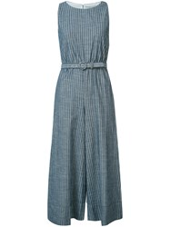 Alice Olivia Striped Belted Cropped Jumpsuit Blue