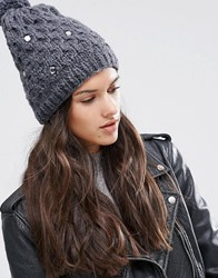 Alice Hannah Cable Knit With Gem Beanie Charcoal Grey