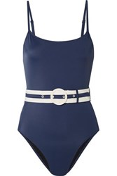 Solid And Striped The Nina Belted Swimsuit Navy