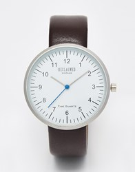 Reclaimed Vintage Logo Duty Watch In Brown Leather Brown